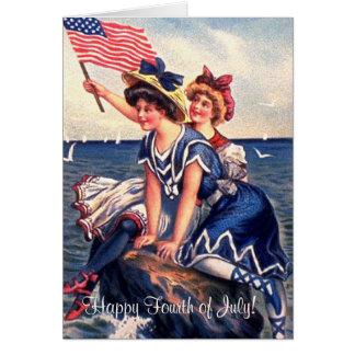 Vintage Patriotic Swimmers Greeting Card
