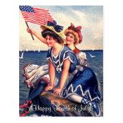 Vintage Patriotic Swimmers Postcard