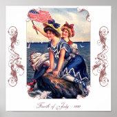 Vintage Patriotic Swimmers Poster