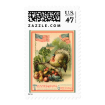 Vintage Patriotic Thanksgiving Medium Postage