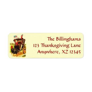 Vintage Patriotic Thanksgiving Turkeys Return Address Labels
