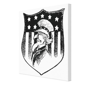 Vintage Patriotic Uncle Sam and American Flag Canvas Print