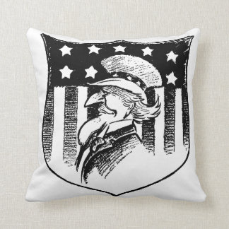 Vintage Patriotic Uncle Sam and American Flag Throw Pillow