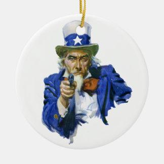 Vintage Patriotic Uncle Sam with Hat and Gun Ceramic Ornament
