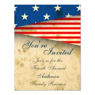 Vintage Patriotic US Flag Family Reunion Invite