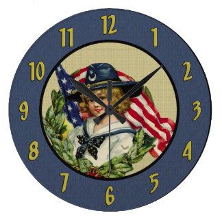 Vintage Patriotic Wall Clock