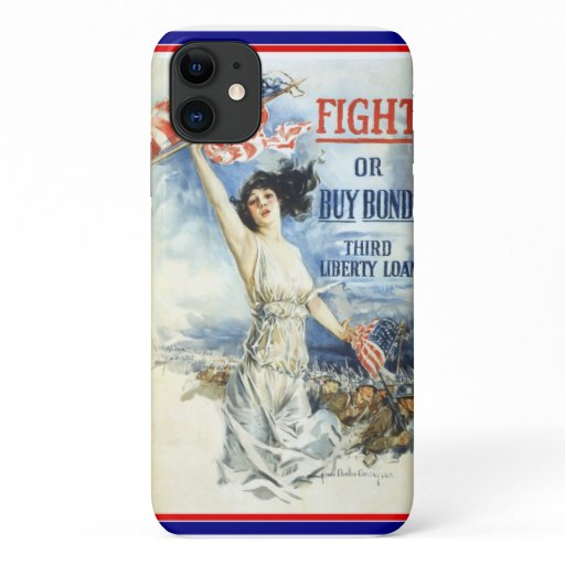 Vintage Patriotic Woman w American Flag Poster Art iPhone 11 Case