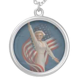 Vintage Patriotic WW2 Army Nurse and American Flag Round Pendant Necklace