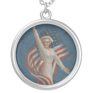 Vintage Patriotic WW2 Army Nurse and American Flag Silver Plated Necklace
