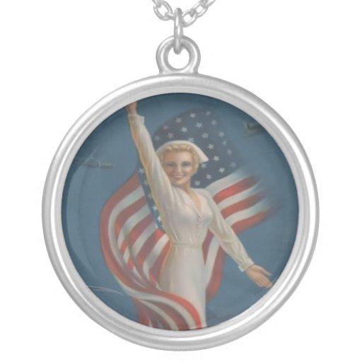Vintage Patriotic WW2 Army Nurse with Flag Custom Jewelry