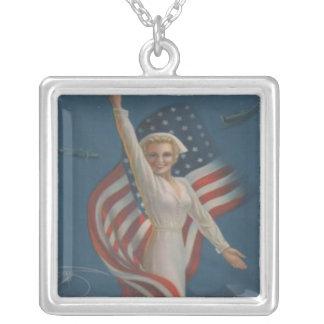 Vintage Patriotic WW2 Army Nurse with Flag Square Pendant Necklace