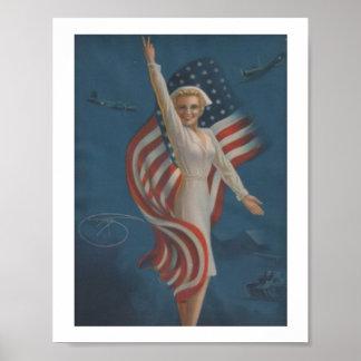 Vintage Patriotic  WW2 Military Nurse Poster