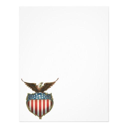 Vintage patriótico, bandera americana con Eagle ca Flyer A Todo Color