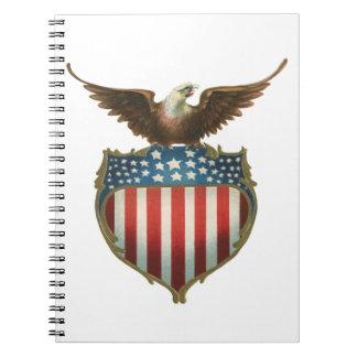 Vintage patriótico, bandera americana con Eagle ca Libros De Apuntes Con Espiral