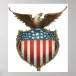 Vintage patriótico, bandera americana con Eagle ca Impresiones