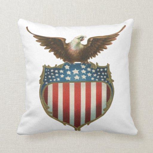 Vintage patriótico, bandera americana con Eagle Almohada