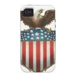 Vintage patriótico, bandera americana con Eagle Case-Mate iPhone 4 Funda