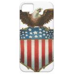 Vintage patriótico, bandera americana con Eagle iPhone 5 Case-Mate Funda