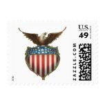 Vintage patriótico, bandera americana con Eagle Sellos