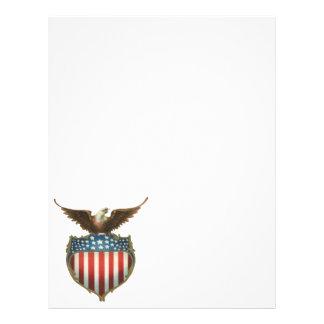 Vintage patriótico, Eagle calvo con la bandera Folleto 21,6 X 28 Cm