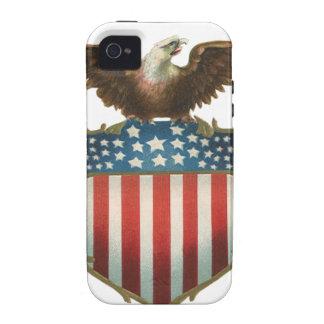 Vintage patriótico, Eagle calvo con la bandera Case-Mate iPhone 4 Funda