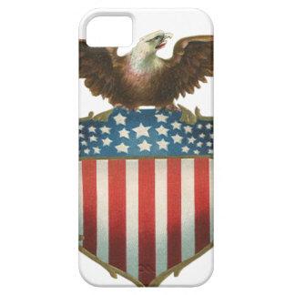 Vintage patriótico, Eagle calvo con la bandera iPhone 5 Case-Mate Funda