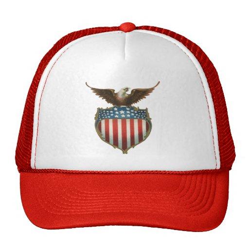 Vintage patriótico, Eagle calvo con la bandera Gorras
