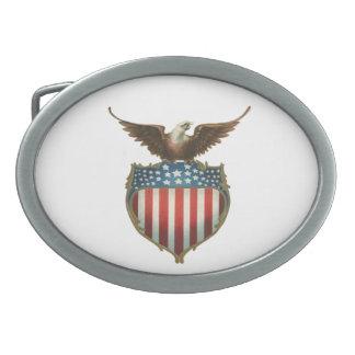 Vintage patriótico, Eagle calvo con la bandera Hebilla De Cinturón Oval