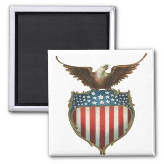 Vintage patriótico, Eagle calvo con la bandera Imán Cuadrado