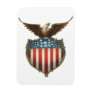 Vintage patriótico, Eagle calvo con la bandera Imanes