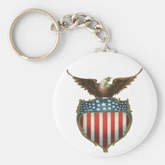 Vintage patriótico, Eagle calvo con la bandera Llavero Redondo Tipo Pin