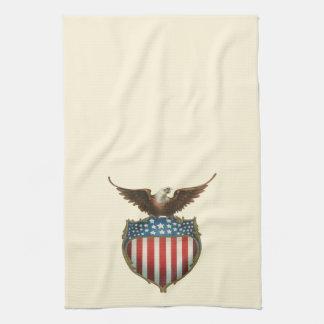Vintage patriótico, Eagle calvo con la bandera Toallas De Cocina