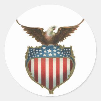 Vintage patriótico, Eagle calvo con la bandera Pegatina Redonda