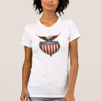 Vintage patriótico, Eagle calvo con la bandera Camisetas