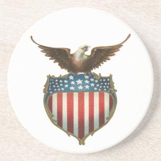Vintage patriótico, Eagle calvo con la bandera Posavasos Personalizados