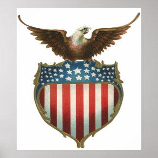 Vintage patriótico, Eagle calvo con la bandera Póster