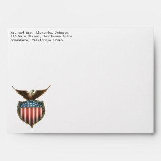 Vintage patriótico, Eagle calvo con la bandera Sobre