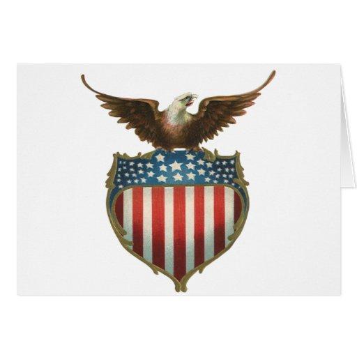 Vintage patriótico, Eagle calvo con la bandera Tarjeta De Felicitación