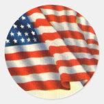 Vintage patriótico el 4 de julio etiquetas redondas