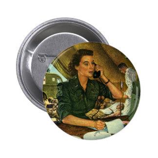 Vintage patriótico, enfermera médica en el pin redondo de 2 pulgadas