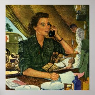 Vintage patriótico, enfermera médica en el teléfon impresiones