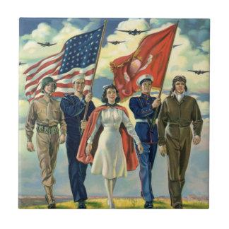 Vintage patriótico, héroes orgullosos del personal azulejo cuadrado pequeño