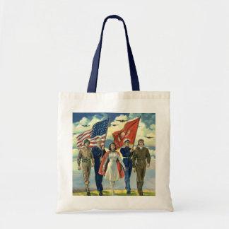 Vintage patriótico, héroes orgullosos del personal bolsa tela barata