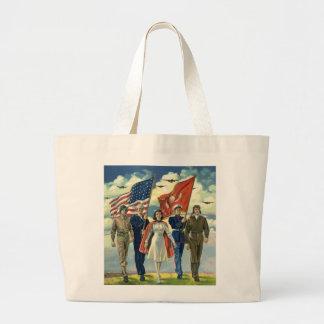 Vintage patriótico, héroes orgullosos del personal bolsa tela grande