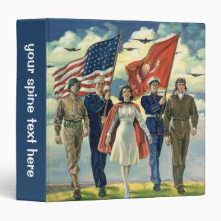 Vintage patriótico, héroes orgullosos del personal carpeta 3,8 cm