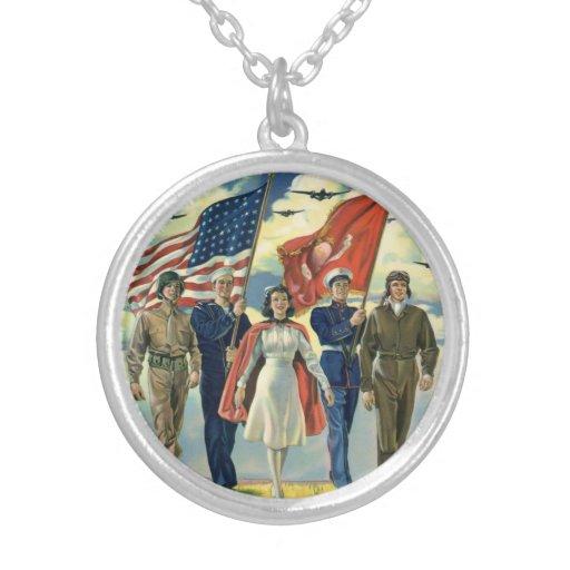 Vintage patriótico, héroes orgullosos del personal colgante redondo