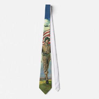 Vintage patriótico, héroes orgullosos del personal corbatas personalizadas