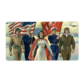 Vintage patriótico, héroes orgullosos del personal etiquetas de envío