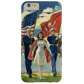 Vintage patriótico, héroes orgullosos del personal funda de iPhone 6 plus barely there