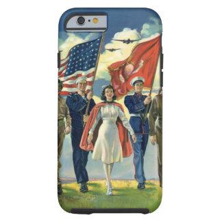 Vintage patriótico, héroes orgullosos del personal funda resistente iPhone 6